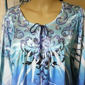 Style&Co. Blue, beaded Tunic top